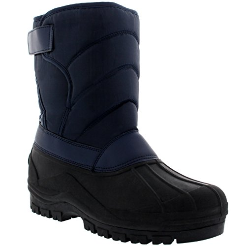 Polar Herren Dreck Nylon Strap Ente Schnee Winter Wohnung Regen IM Freien Stiefel - Marine - NAV43 AYC0149 (Marine-blau-wohnungen)