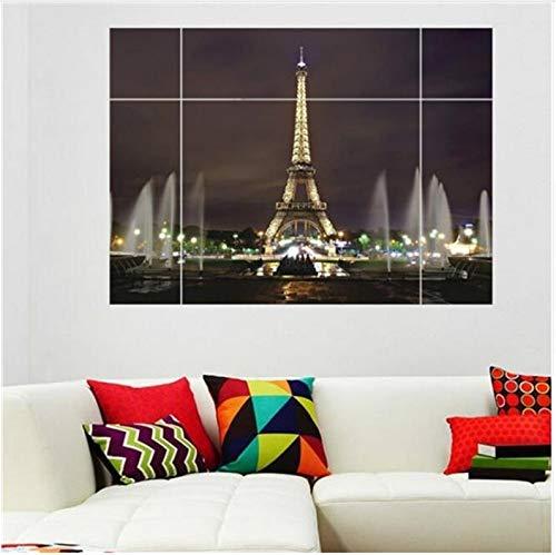 (Dokfh Moderne Entfernbare Wandaufkleber 3D Fenster Ansicht Große Eiffelturm Sydney Griechischen Nacht Stadt Für Wohnzimmer Schlafzimmer Dekoration 70X100 cm)