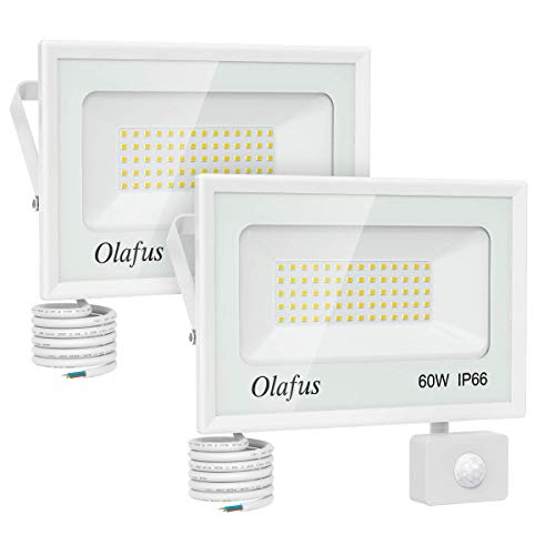 Olafus 2er 60W LED Strahler mit Bewegungsmelder, 6600LM Superhell LED Fluter, 5000K Tageslichtweiß Scheinwerfer, IP66 Wasserdicht Aussenstrahler Flutlicht Außenbeleuchtung für Garten, Garage, Hof -