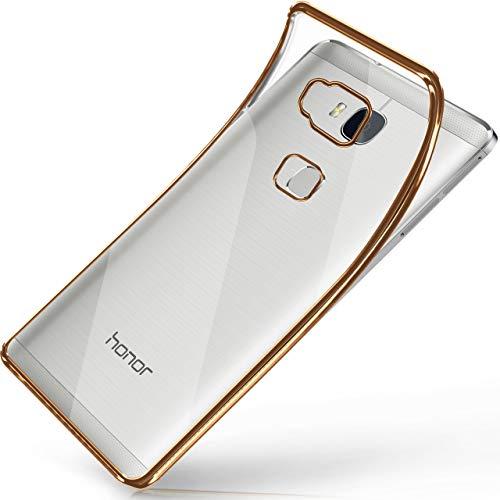moex Huawei Honor 5X | Hülle Silikon Transparent Gold Chrom Back-Cover Silikonhülle Dünn Schutzhülle Handyhülle für Honor 5X/GR5 Case Ultra-Slim Tasche TPU