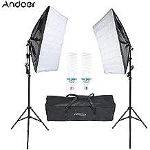 Andoer Kit Fotografía de Estudio Softbox Iluminación 2 * Bombilla 135W + 2 * Soporte + 2 * Softbox + 1 * Bolsa de Transporte para Retrato Producto