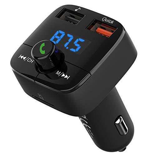 VicTsing Trasmettitore FM Bluetooth 4.2, Trasmettitore Bluetooth per Auto, FM Bluetooth Auto Ricarica QC 3.0, Doppia Uscita USB, Radio Adattatori Car Kit Vivavoce Supporta TF/USB Flash Drive 32GB