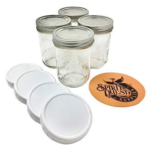 Ball Pint Mason Gläser mit Deckel und Einmachgläseröffner 16oz Wide Mouth - 4 Jar Bundle farblos Pint Mason Jar