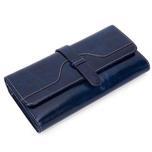 Damen Geldbörse Leder Portemonnaie Frauen Geldbeutel Groß Brieftasche mit Reißverschluss...