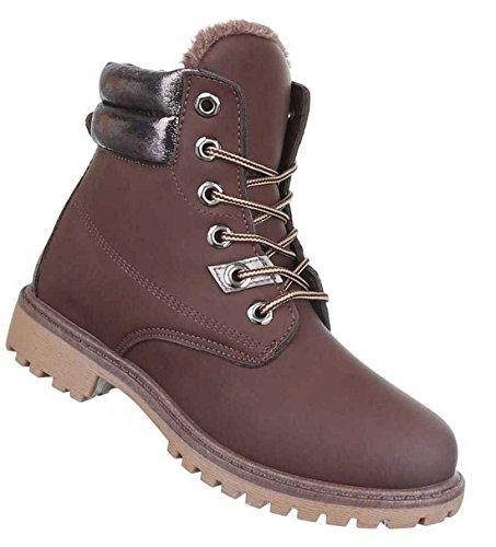 Damen Schuhe Stiefeletten Boots Mit Schnürung Braun