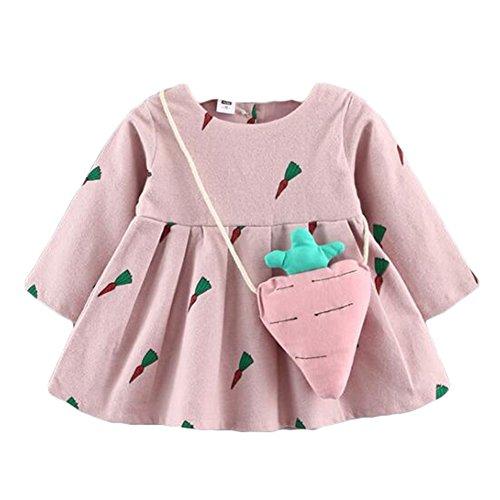Yying Robes Filles Bébé - Robes Dessin Animé Princesse Bambin Robe avec Sac Carotte Vêtements Enfants Robe Bébé 0-36 Mois