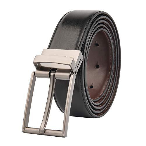 keynat Herren Gürtel Leder Reversible, Rotierte Schnalle ,Herren Leder Gürtel für Männer Wendegürtel(Schwarz & Braun-1, 53''/135cm) - Reversible Herren Gürtel