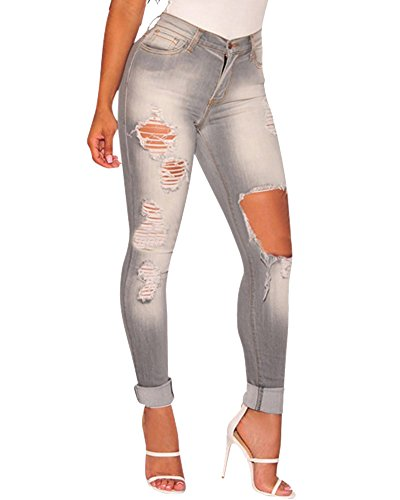 Femme Pantalon Stretch Troué Denim Jean Taille Haute Leggings Collant Moulant Jegging Comme Image