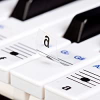 New and Improved! - Keysies Transparent Plastic Removable Piano and Keyboard Note Stickers - Plus Handy Placement Guide.
