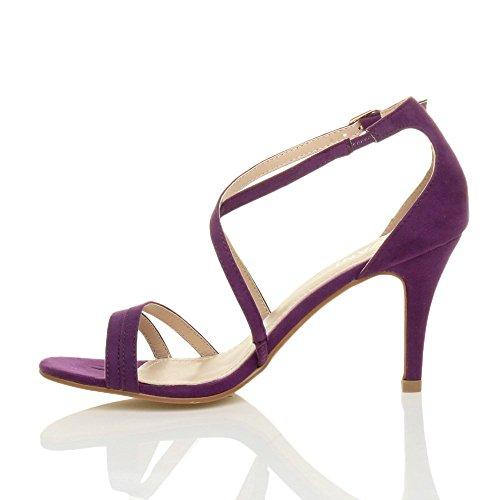 Femmes talon moyen haut lanières croisé mariage bal sandales chaussures taille Violette Pourpre Daim