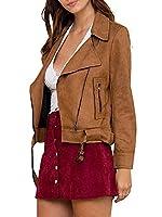Simplee Apparel Women's Suede Zip up Faux Leather Biker Jacket Crop Coat Brown