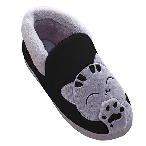 Peluche Slipper Hommes et Femmes Chat Emoji Chaussons Winter Chaud House Shoes Noir BG