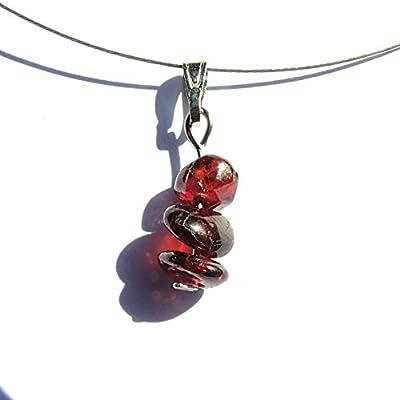 Collier boheme grenat rouge pierres naturelles, pendentif minimaliste, bijoux nature boheme minimaliste, pendentif grenat simple pierre