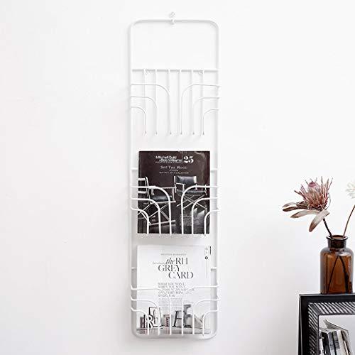 LXYFMS Nordic Schmiedeeisen Dekorrahmen Kreative Wohnzimmer Büro Wandbehang Zeitungsständer Rack Einfache Bücherregal 29x8x104 cm Bücherregal (Color : White) (White X-frame Schreibtisch)