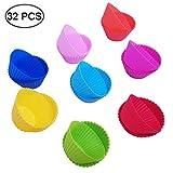 SENHAI - 32 pirottini in silicone riutilizzabili, antiaderenti, per muffin, tartufo, cupcake, cupcake, 8 colori