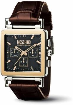 Moschino MW0065 - Reloj cronógrafo de caballero de cuarzo con correa de piel marrón (cronómetro) - sumergible a 30 metros