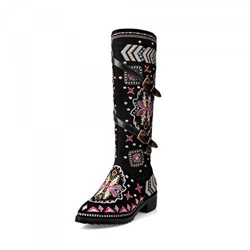 NVXUEZIX Damen Schuhe Wildleder Winter Herbst Stiefel aus echtem Leder Schnalle High Heel runde Zehe Slouch Stiefel Stickerei schwarz, 35 -
