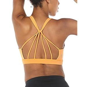 icyzone Sport BH Damen Yoga BH mit Gepolstert – Starker Halt Fitness-Training Strech BH Bustier Push up Top ohne Bügel Sports Bra