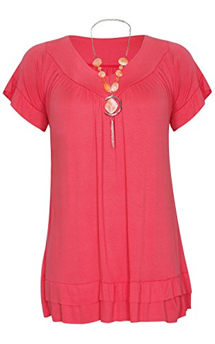 Made By Malaika® New Ladies Womens Ruched Frill Necklace Gypsy Tops Flared Swing Tunic Loose Fit Short Sleeve Summer T-Shirt Long Top Plus Size 8-22