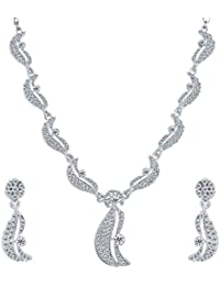 Aadita Fancy Silver Plated Diamond Studded Necklace Set With Earrings For Women And Girls