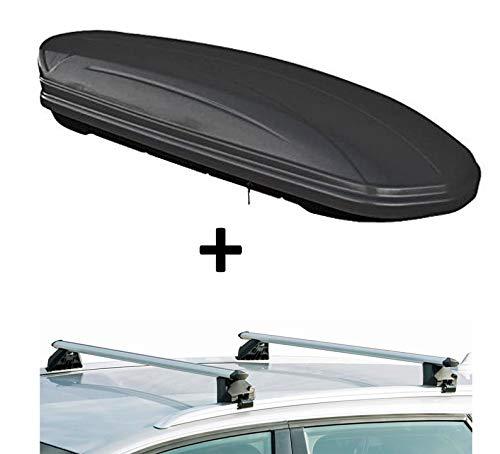 Dachbox VDPMAA320 320Ltr abschließbar schwarz matt + Dachträger CRV107A kompatibel mit Audi A3 Sportback (8P) (5 Türer) 2004-2013
