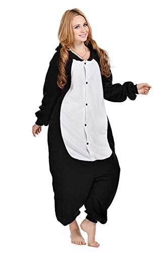 Imagen de abyed kigurumi pijamas unisexo adulto traje disfraz adulto animal pyjamas,gato negro adulto talla m para altura 159 166cm alternativa