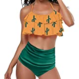 LRWEY Donne Retro Flounce Vita Alta Bikini Allacciato al Collo del Bikini Due Pezzi(Small,Verde)