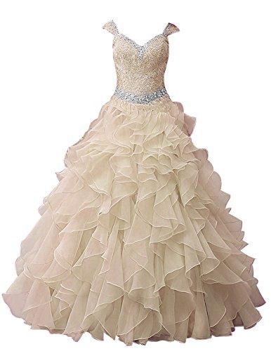 Dresstells Damen Bodenlang Organza Hochzeitskleid Glitzer V-Ausschnitt Ärmellose Abschlussballkleider Champagner