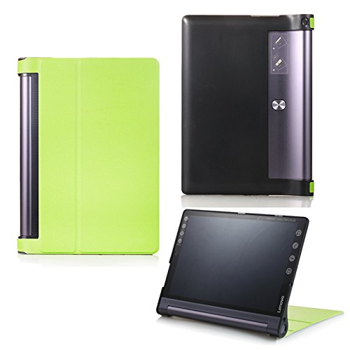 Schutz Tasche für Lenovo Yoga Tab 3 10 Plus YT-X703F/L und Lenovo Tab 3 10 Pro YT3-X90F aufstellbares Smart Cover Case mit Wake & Sleep Funktion (Grün) + GRATIS Stylus Touch Pen