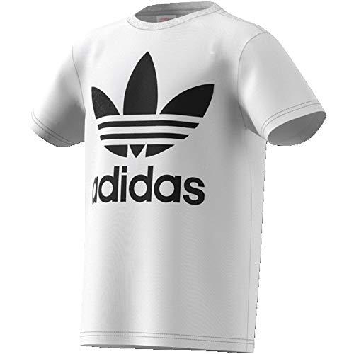 Adidas trefoil tee, t-shirts unisex bambini, white/black, 11-12a