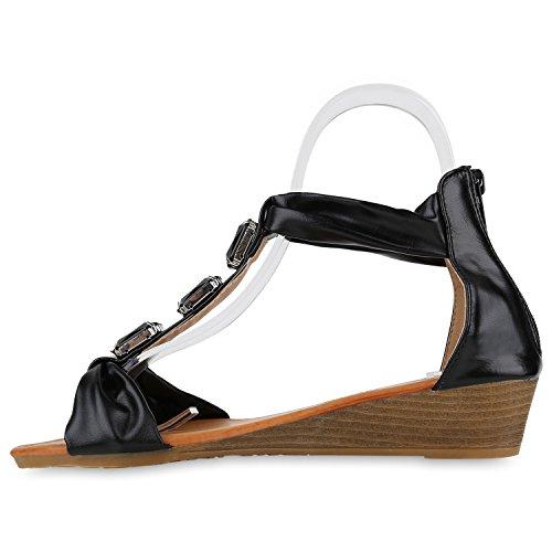 Damen Sandaletten Keilabsatz Metallic Strass Sommerschuhe Wedges Schwarz Black