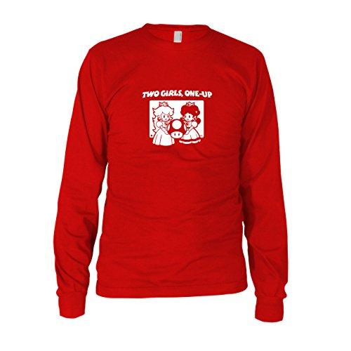 (Two Girls, One-Up - Herren Langarm T-Shirt, Größe: L, Farbe: rot)