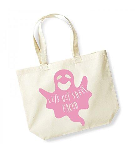 Let's Get Sheet Faced - Large Canvas Fun Slogan Tote Bag Natural/Pink