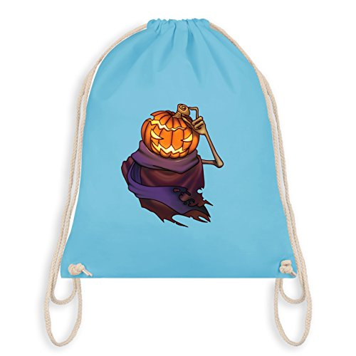 Date Kostüme Halloween (Halloween - Kürbiskopf - Unisize - Hellblau - WM110 - Angesagter Turnbeutel / Gym)