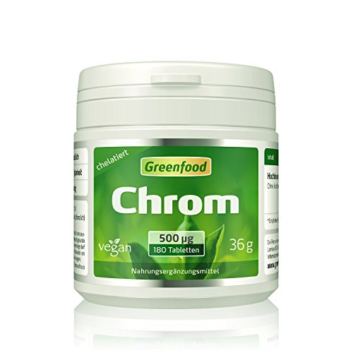 Chrom, 500 µg, hochdosiert, 180 Tabletten, vegan - für einen ausgeglichenen Blutzuckerspiegel....