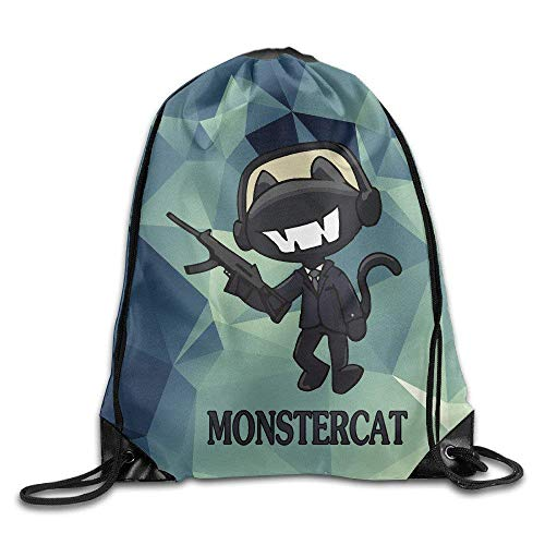 Etryrt Turnbeutel/Bedruckte Sportbeutel, Premium Drawstring Gym Bag, Creative Design Monstercat with Gun Logo Drawstring Backpack Sport Bag for Men and Women