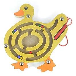 HappyToy Mini Animal Round legno magnetico bacchetta Numero labirinto interattivo labirinto perline magnete Maze sulla scheda del gioco Città di traffico Eduactional Artigianato Giocattoli (Anatra)