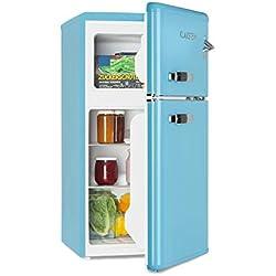 Klarstein Irene - Combiné réfrigérateur, 61L, Congélateur 24L, Classe A+, Rétro, Bleu
