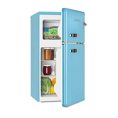 Klarstein Irene • Combiné réfrigérateur • 61L • Congélateur 24L • Classe A+ • Rétro • Bleu