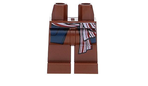 Lego Reddish Brown Hips Legs w// Dark Blue Vest Tails Red and White Sash