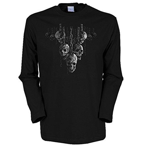 Herren Langarm-Shirt ::: Skulls hanging over ::: für Gothic Fans Schwarz