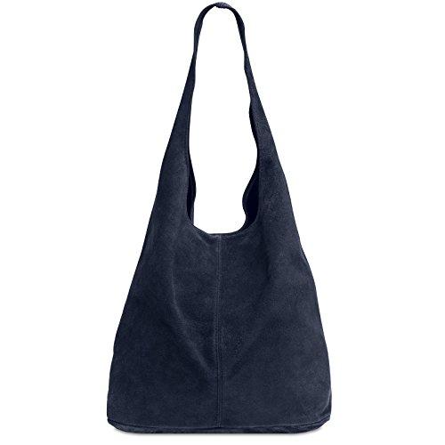 Caspar TL767 großer Damen Leder Shopper, Farbe:dunkelblau, Größe:One Size -