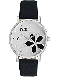 YOUTH CLUB New Sober Flower Printed Dial Analog Watch For Girls-FLW-50BLK