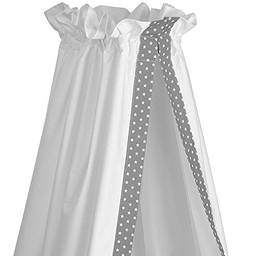 Sugarapple Baby Betthimmel für Babybetten oder Kinderbetten 150 cm Höhe x 200 cm Länge, Babybett Babyhimmel Vorhang aus 100% Baumwolle, Grau mit weißen Sternen