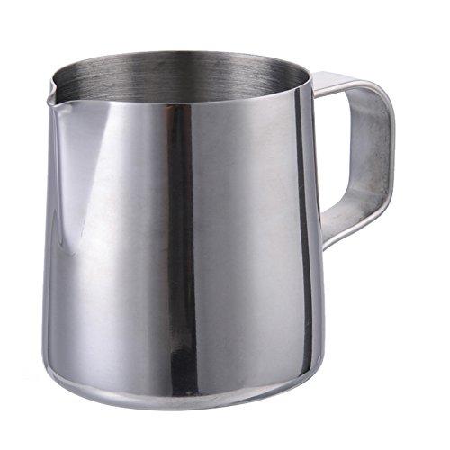 Fastar Kanne zum Aufschäumen von Milch aus Edelstahl, 150ml/350ml/600ml/900 ml, perfekt für Kaffee, silber 150ml -