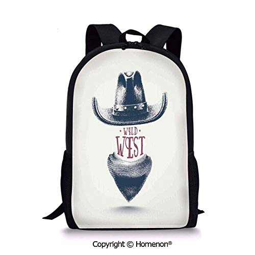 """Grey Black Red,Design Boys Girls School Bag Rucksack Durable Bookbag Teens(17.3"""") Graphic Design of Wild West Cowboy Hat and Scarf in Vintage Colors American New Old"""