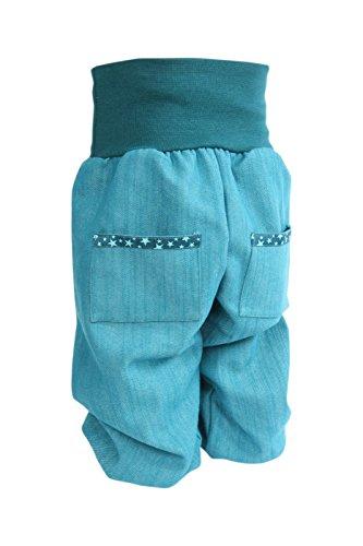 Lilakind Pumphose Hose Babyhose hochwertige Handarbeit Stretch Jeans mit Taschen Petrol