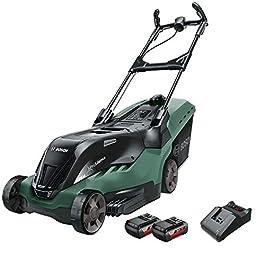 Bosch tondeuse à gazon sans fil AdvancedRotak 36-660 (36 Volt, 2x Batterie 2,0 Ah, Largeur de coupe : 40 cm, Superficies…