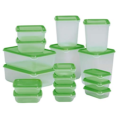 Ikea PRUTA Dose mit Deckel 17er-Set transparent grün, Polypropylene, Green, 30 x 24 x 16 cm, 17-Einheiten
