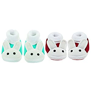 Neska Moda Pack Of 2 Baby Infant Soft Green and Maroon Booties For Age Group 0 To 12 Months